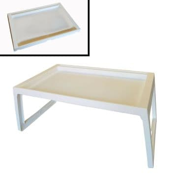 LAPTOP FOLDING LAP TRAY TABLE (WHITE) DINNER TRAY computer bed meals desk boat